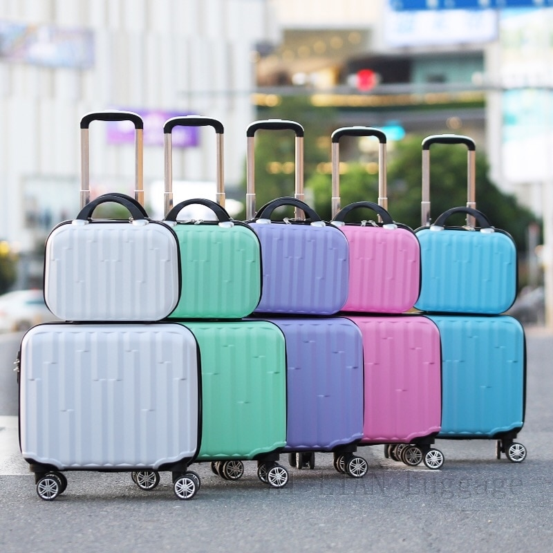 New 18inch Travel Luggage set Women suitcase on wheels kids rolling luggage ABS trolley luggage bag