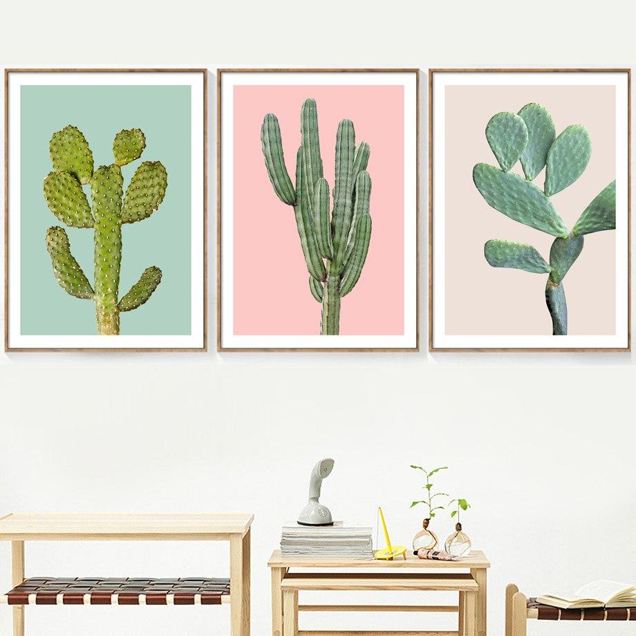 Cactus verde planta posters e cópias pintura da lona fresco nordic parede fotos para sala de estar moderna decoração casa