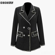 Blazer Women Chic Jacket Sequin Diamonds Black Formal Jackets Turn-down Collar Pockets Notched Blazer Coat Outerwear Female