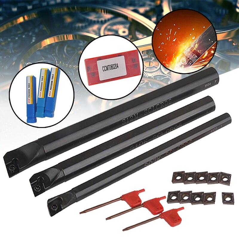 10 шт. CCMT0602 твердосплавная вставка + 3 шт. сверлильный держатель для инструментов SCLCR с 3 ключами для токарных инструментов