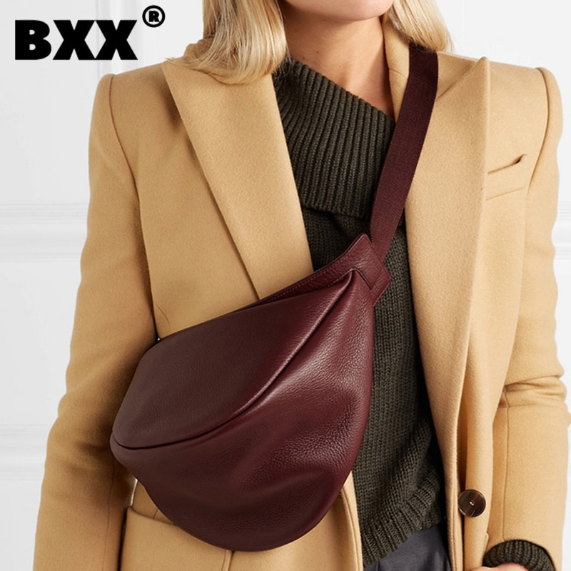 [BXX] 2021 ربيع امرأة جديدة النبيذ الأحمر أسود اللون واسعة واحدة حزام سستة نصف القمر بولي Leather الجلود حقيبة صدر للرجال كل مباراة LI812