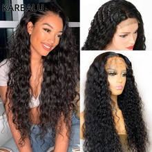 Karbalu Deep Wave Human Hair Wigs for Black Women 4x4 Lace Closure Human Hair Wigs Brazilian Deep Cu