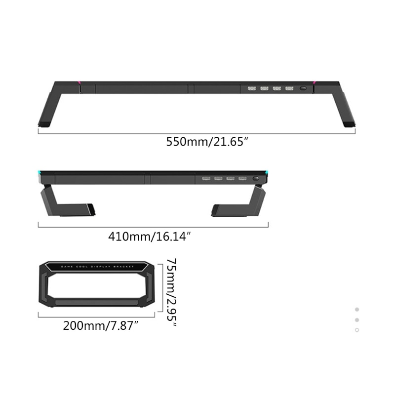 2021 New T1 Universal Monitor Stand Riser  Support with 4 USB3.0 Charging Desk Organizer enlarge
