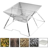 camping trapezoidal wood stove outdoor steel barbecue stove multifunctional folding barbecue gas stove