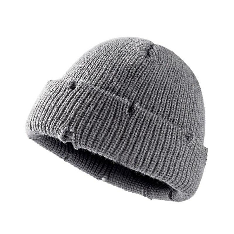 Новинка 2021, зимние мужские шапки в стиле хип-хоп Harajuku, облегающие шапки, вязаные шапки с рваными дырками, простые мягкие хлопковые теплые кач...
