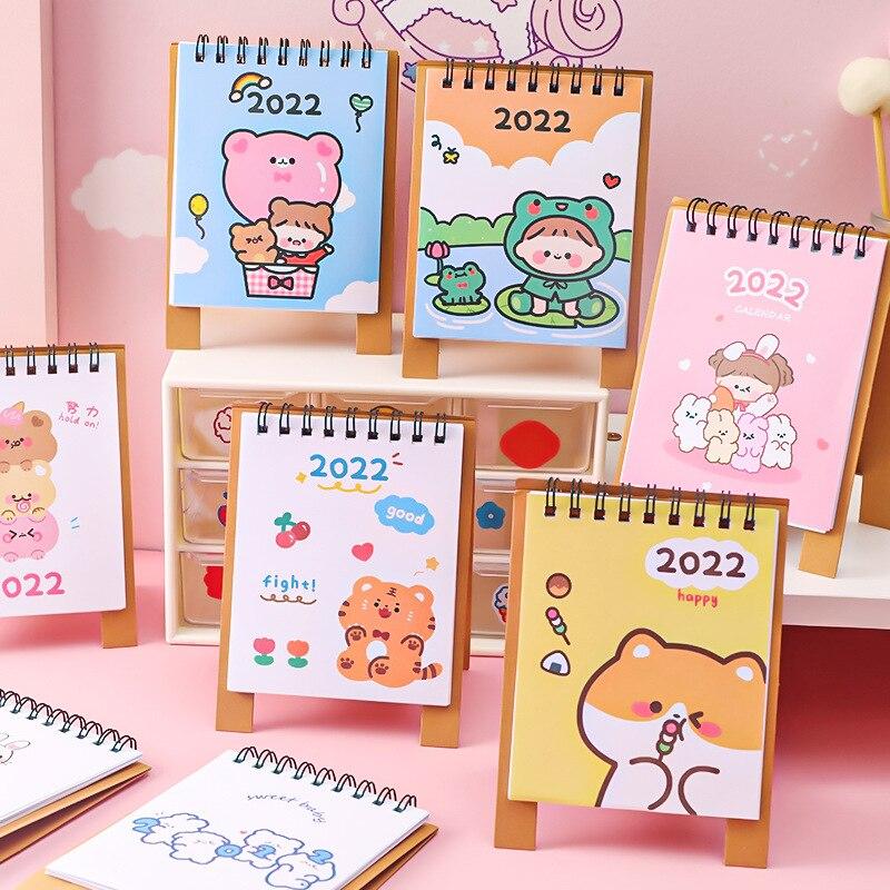 Календарь с мультипликационным рисунком 2022, маленький свежий и милый Настольный маленький календарь, памятный календарь для студентов, кал...