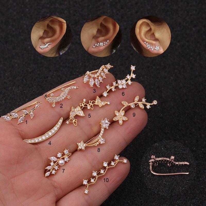 1pc cz longo flor brinco para mulher hélice de aço inoxidável brinco tragus rook conch parafuso de volta piercing jóias