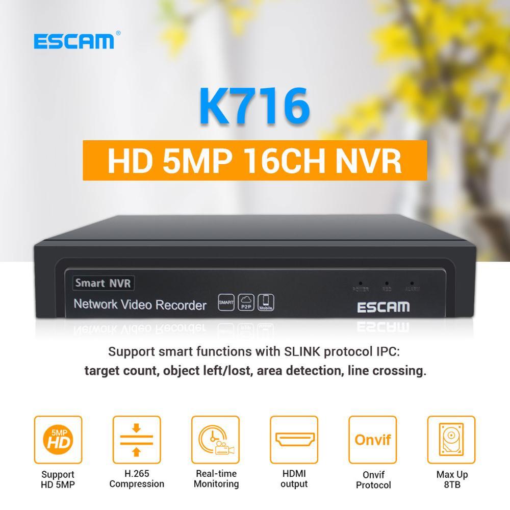 ESCAM nueva marca K716 16CH 5MP NVR H.265 ONVIF 4K NVR grabador de vídeo DVR cámara IP vigilancia sistema de seguridad CCTV soporte 8TB