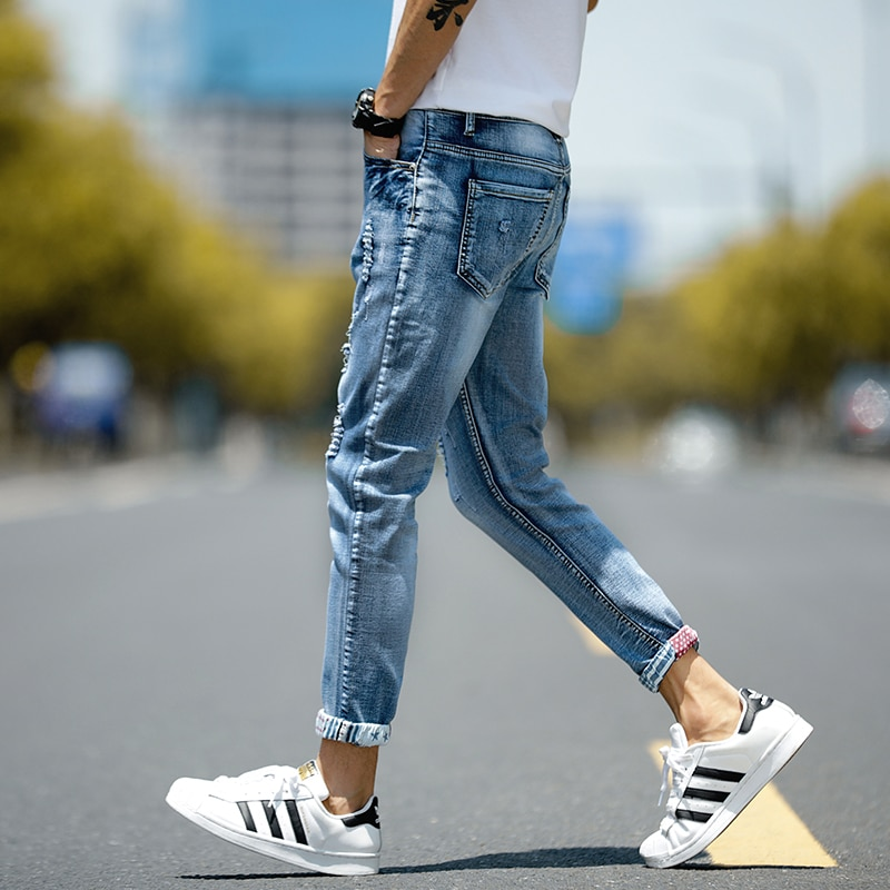 Man Jeans Men's Jeans Mens Pants Korean Jeans Pantalon Jeans Homme Denim Pants Denim Jeans Trousers Men Ripped Jeans 2021 Casual