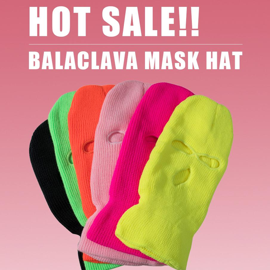 Unisex Balaclava Mask Hat 3 Hole Face Mask Black Knitted Ski Snowboard Hat Cap Winter Beanies Women