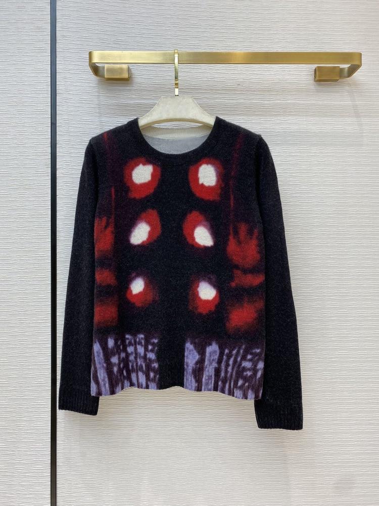 Marca de lujo, 100% para mujer, camisa de jersey de cachemir, otoño 2020, estilo bohemio Vintage elegante, estampado abstracto de tótem con Halo, suéteres, Top
