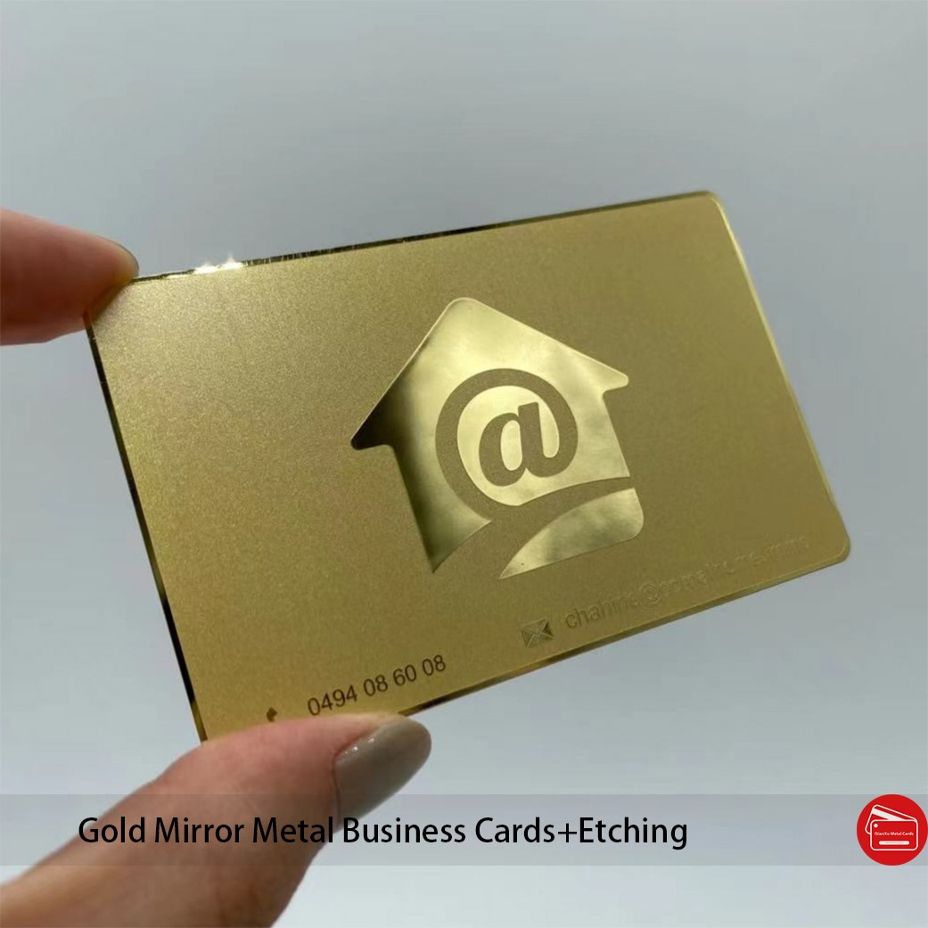 Chemical Etching Gold Mirror Metal Business Cards Custom Mirror Stainless Steel Cards