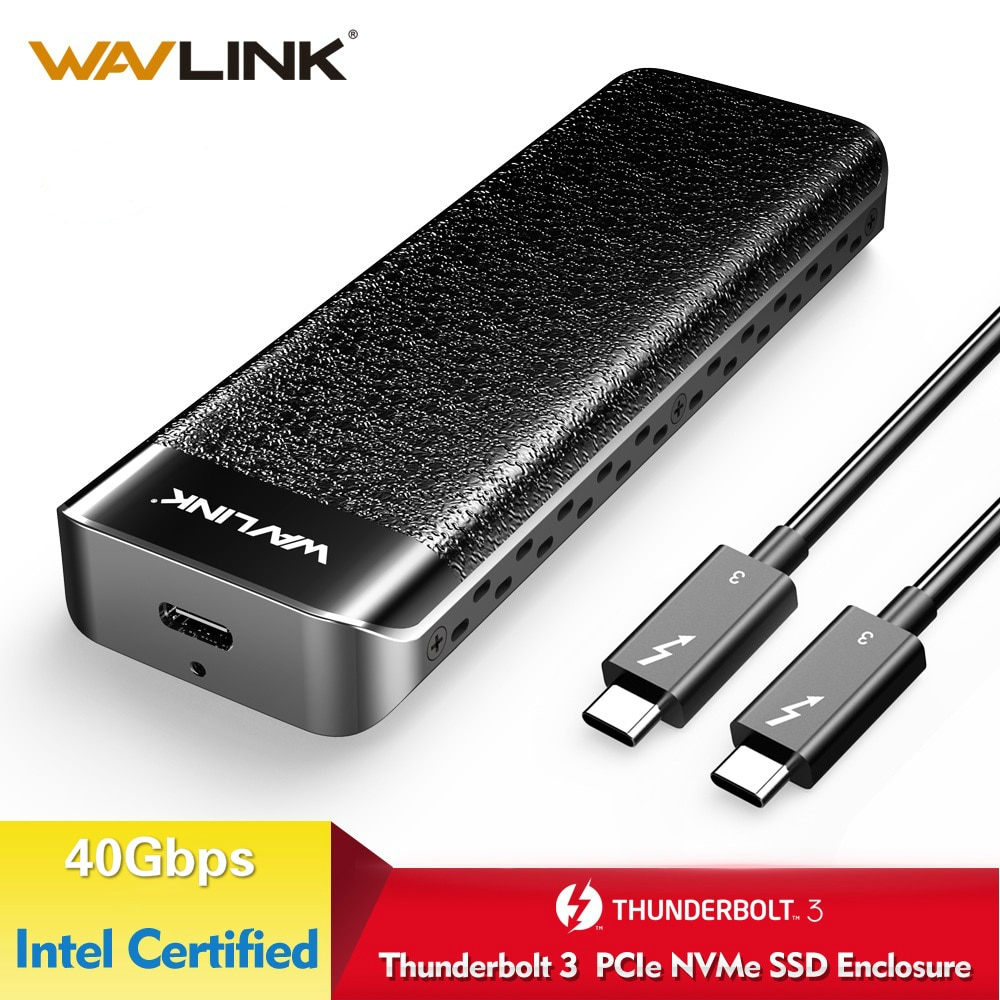 Wavlink USB C Thunderbolt 3 NVME External SSD Enclosure Type-C NVMe connector Excellent Dissipation Intel Certified