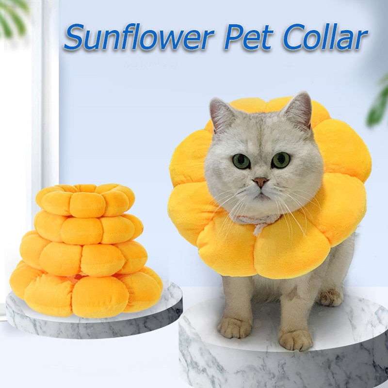 Cat Recovery Collar Anti-Lick Pet Anti-Bite Elizabethan Collar Sunflower Shaped Wound Healing Protection Pet Collar Good-looking prevent hinder pet dog cat cervical collar injured surgery wound training infection lick bite grab e collars recovery sleeve