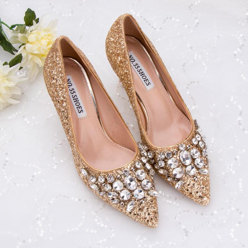 Zapatos de fiesta para mujer, brillantes, con lentejuelas, estrás, brillo dorado, fecha de noche, banquete, 6cm, tacones medios, cómodos, zapatos para madre, novia