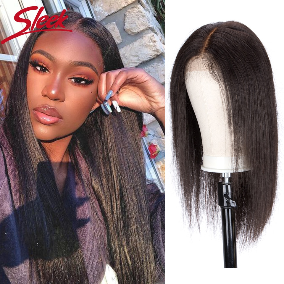 Sleek 28 Inch Human Hair WIgs Straight Lace Front Wig For Women 4x4 Lace Closure Brazilian Hair Wigs Body Wave Short Lace Wigs