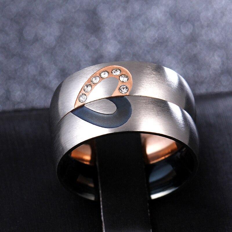 6mm anillos de acero inoxidable románticos de mitad de corazón 316l para amantes mujeres hombres pavimentar el anillo de cristal Alianca Aneis Feminino