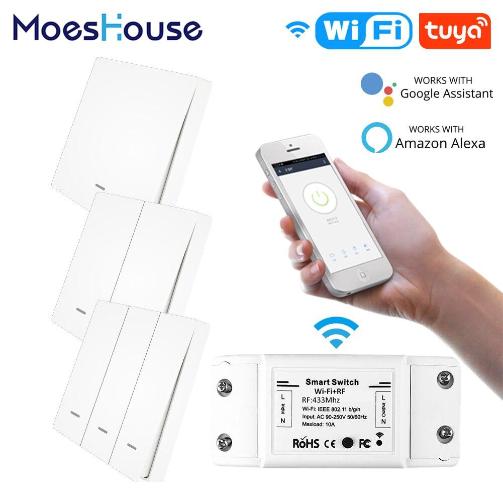 Control remoto inalámbrico WiFi interruptor inteligente pared Panel transmisor Smart Life/Tuya APP funciona con Alexa Google Home RF433