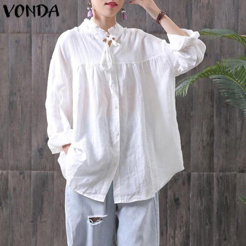 Solid Shirts Women Autumn Long Sleeve Blouse Female Plus Size Tops VONDA Vintage Turn Down Collar Shirts S-5XL