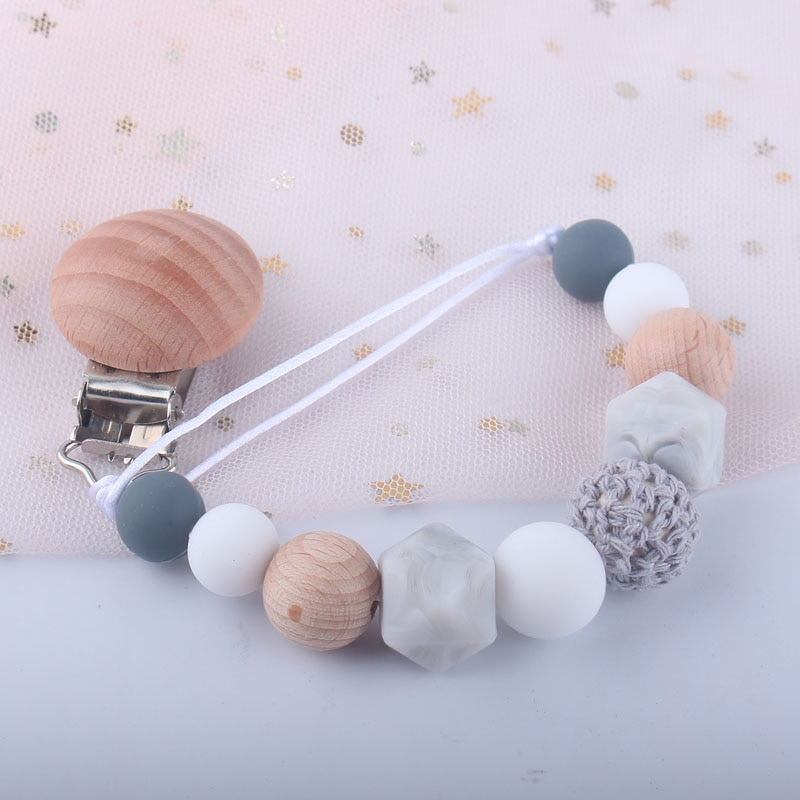 Baby Pacifier Clip Silicone Teething Beads Holder Soothie Clips Teether Toy Chewbeads Baby Birthday Shower Gift