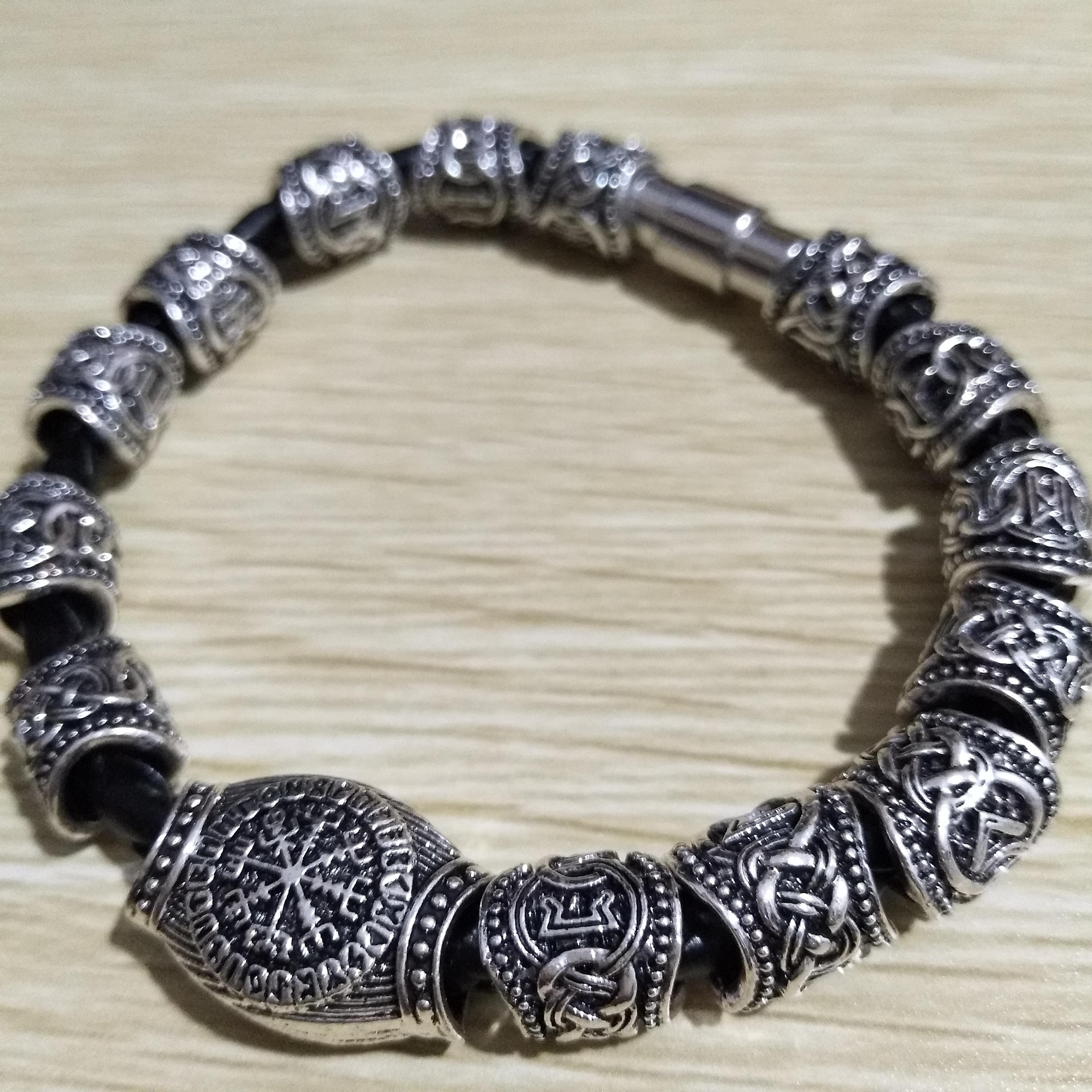 Norse cuentas Runas Punk joyería vikingo pulsera para hombres Bangels mujeres Runas Vikingas accesorios de decoración