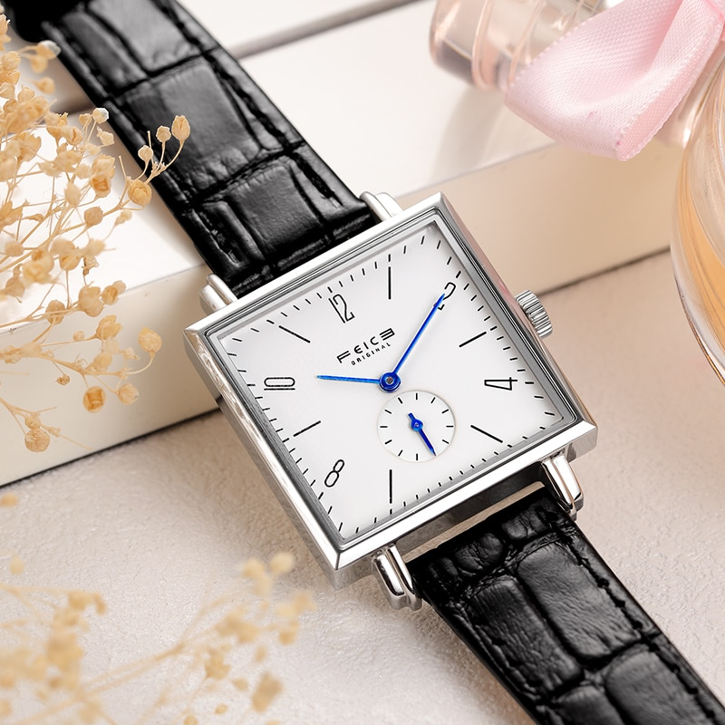 FEICE المرأة الكلاسيكية باوهاوس ساعة اليد الياقوت الكريستال الحد الأدنى ساعة عادية ساحة التناظرية ساعة كوارتز-FG301