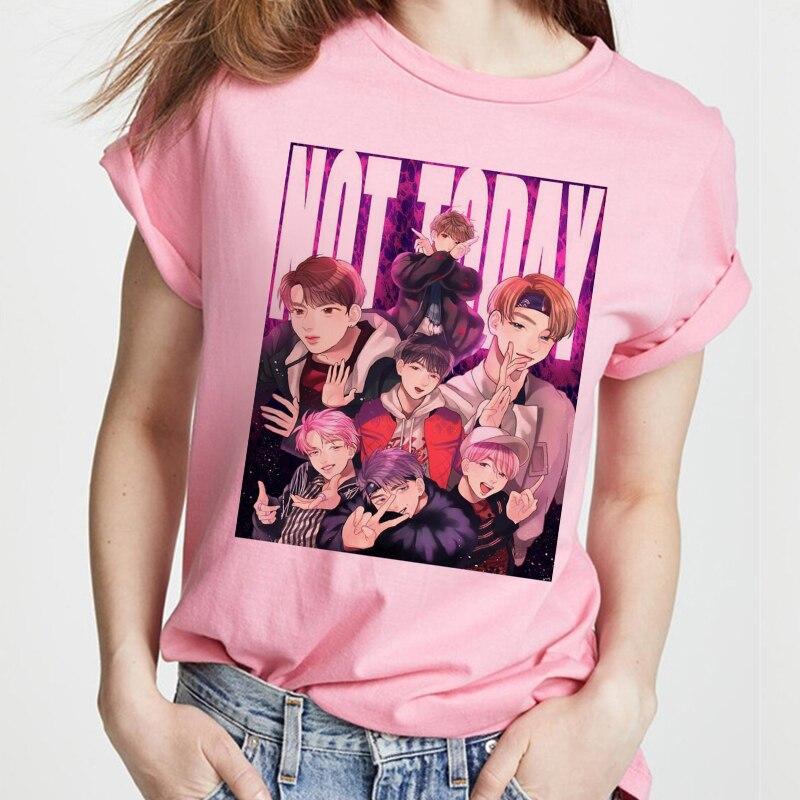 Korean Style 2020 Kpop Bangtan Boys T-shirt Women Pink Tshirt Female Ulzzang Harajuku JIN SUGA J HOPE JIMIN V JUNGKOOK Top S-2XL