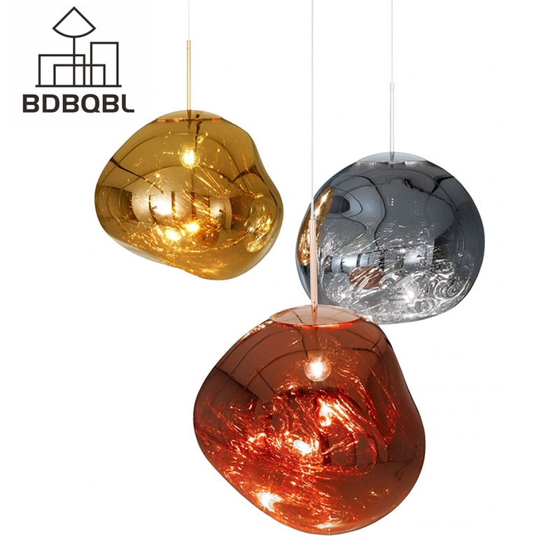 BDBQBL Neuheit Glas Anhänger Lichter Dia28/40CM Kupfer/Gold/Silber Hängen Lampe E27 Kreative Schlafzimmer Hanglamp
