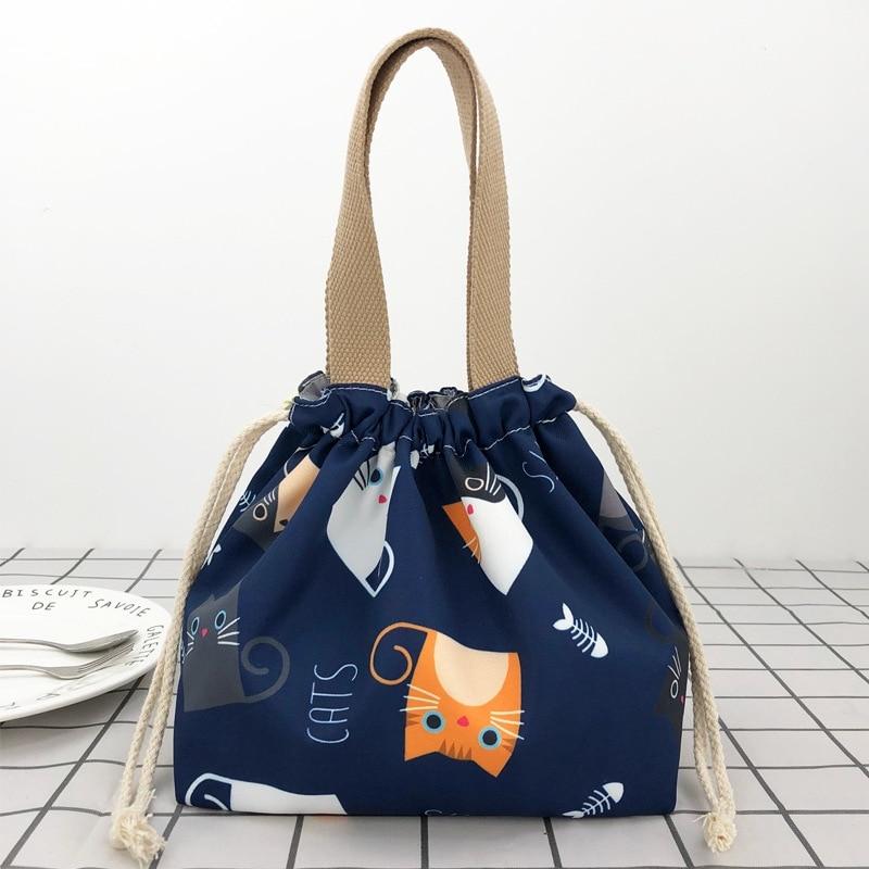 Bolsa de almuerzo con cordón impermeable, bolsa de almuerzo japonesa de dibujos animados con bolsa de arroz, bolsa de almuerzo portátil