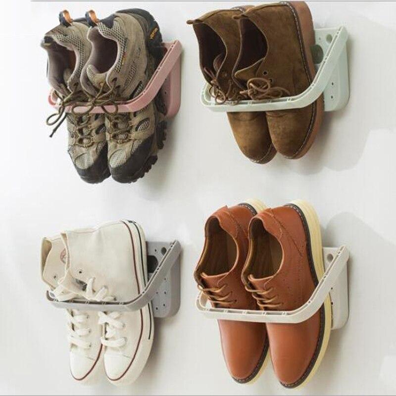 Estante creativo para zapatos, ventosa sin perforación, estante multifuncional plegable para zapatos, estante colgante para pared, estante de almacenamiento para zapatillas