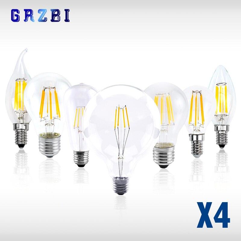 Светодиодная лампа E14 C35 в виде свечи, винтажная лампа с нитью накаливания Эдисона, 4 шт./лот, E27, A60, ST64, G95, G125, 220 В переменного тока, 2 Вт, 4 Вт, 6 Вт,...