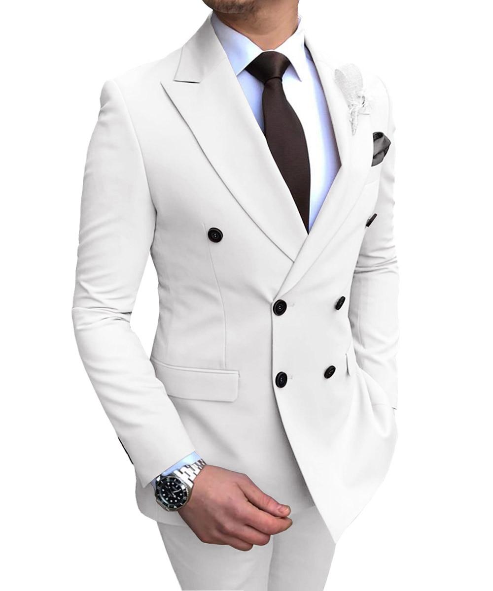 جديد الأبيض الرجال دعوى 2 قطع مزدوجة الصدر الشق التلبيب شقة سليم صالح عادية البدلات الرسمية لحفل الزفاف (السترة + السراويل)