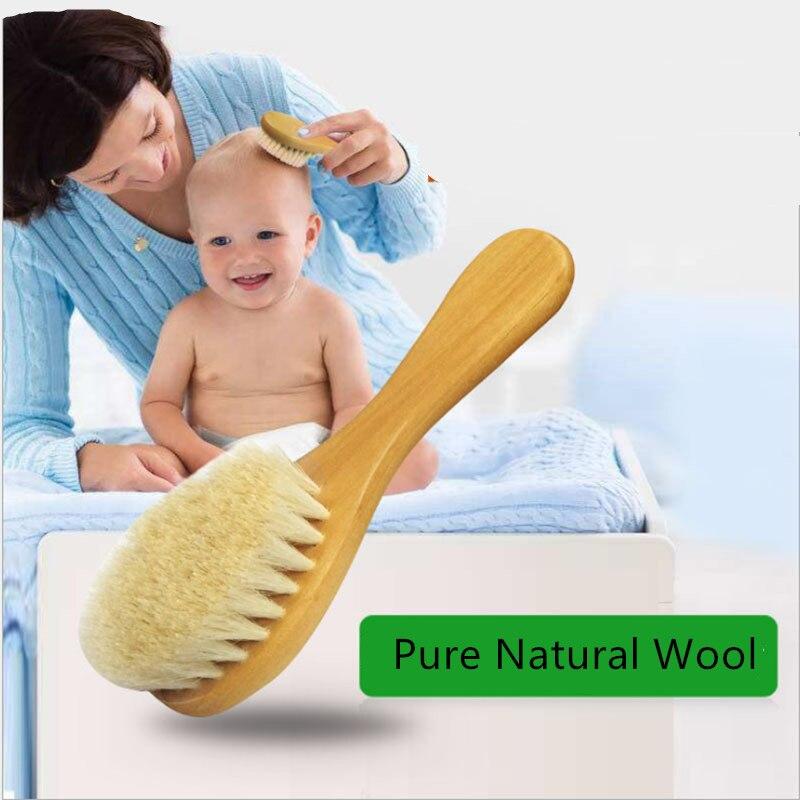 Cepillo de lana pura Natural suave para bebé, cepillo con mango de madera, peine para bebé, peine infantil, cabeza masajeadora, cepillo para bebé, cuidado del bebé