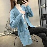 women sweater 2021 autumn winter new fashion women cardigans long sleeve button sweater women casual mid length women cardigan