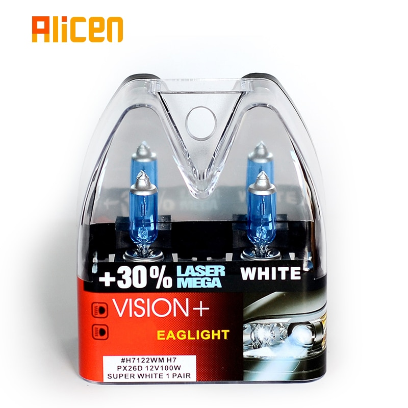 100W 12V Super White bulbs H7 Racing Vision +30% More Brightness Auto Headlight Hi/lo Beam Halogen Lamp Rally Performance Pair