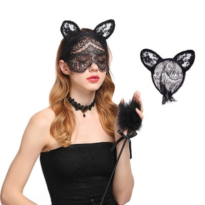 Gothic Rabbit Bunny Ear Veil Headbands Hair Halloween Costume Party Sexy Black Lace Hollow Masquerade Mask Hair Accessories