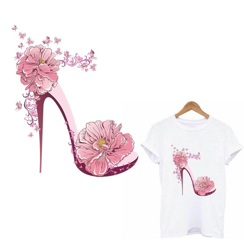 Flor de salto alto transferência de calor remendos de vinil para roupas femininas camiseta apliques em roupas thermo adesivos remendos tarja diy