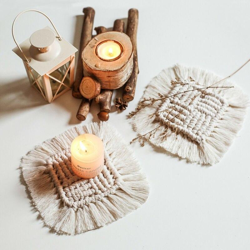 Posavasos bohemios tejidos a mano para comedor, posavasos para taza de café con aislamiento térmico, posavasos para tazas, posavasos para el hogar, accesorios de cocina