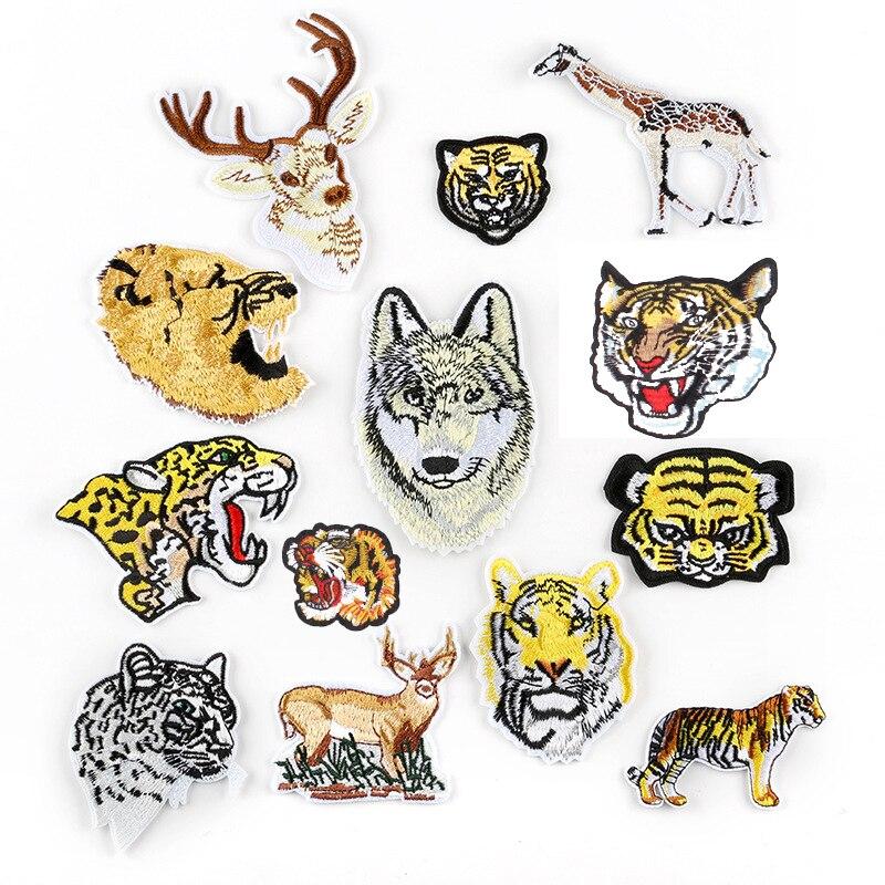 Animales de dibujos animados Tigre Lobo hierro en parches para ropa DIY bordado raya en la ropa aplique insignia apliques para ropa tela