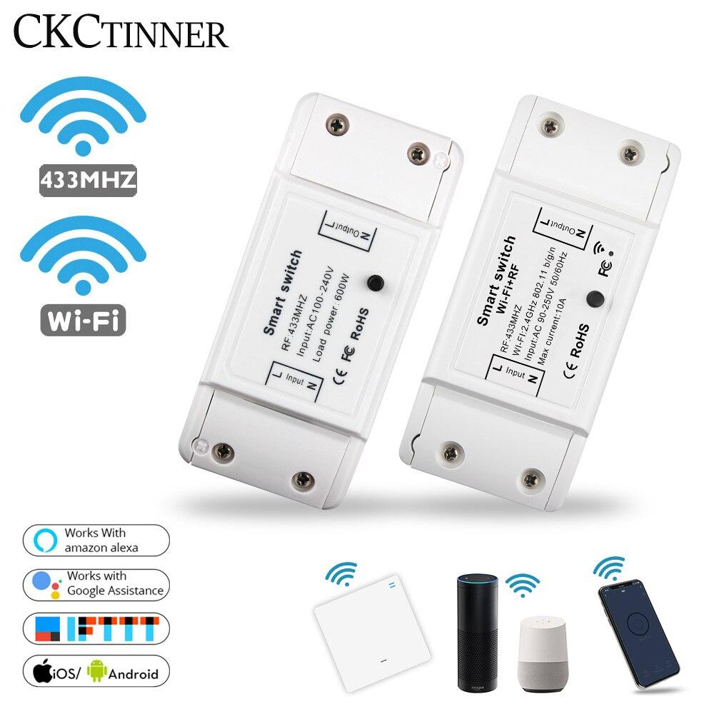 Inteligente interruptor de luz remoto sem fio diy wi fi rf 433 mhz inteligente interruptor trabalhar com alexa google casa inteligente universal disjuntor temporizador app