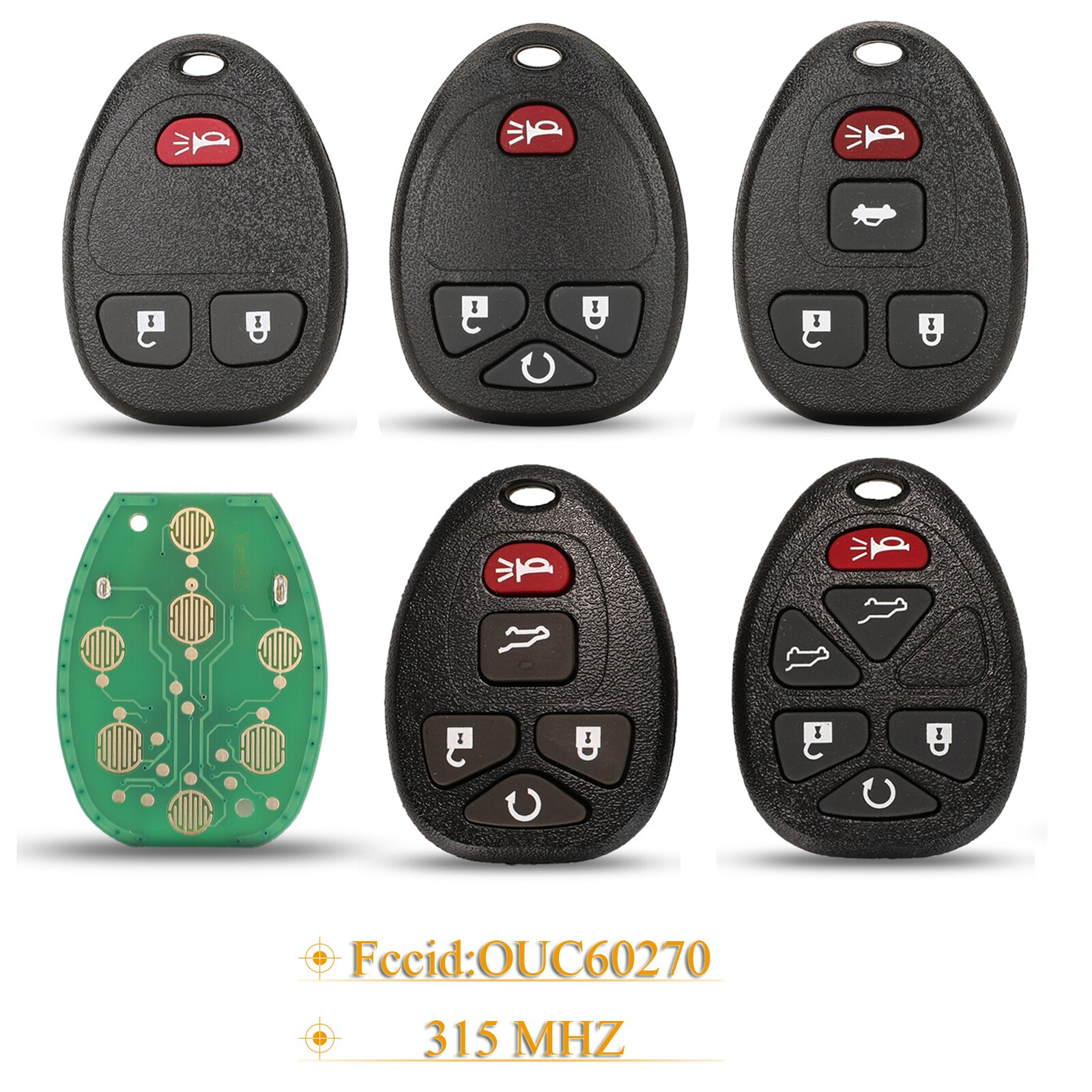 Kutery 3/4/5/6 Buttons Smart Remote Car Key Fob 315Mhz OUC60270 For Chevrolet Tahoe Traverse GMC Yukon 2007 - 2014