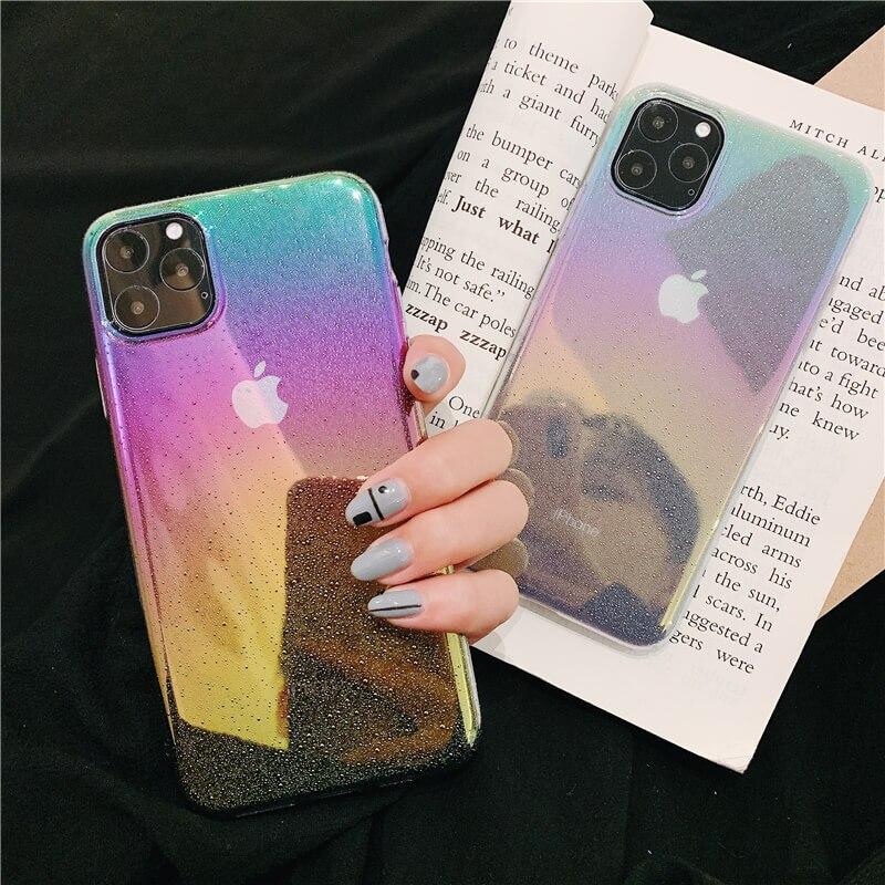 Gota de lluvia puntos colorido para el caso de iphone 11 pro max cubierta cielo estrellado cielo chapado duro caso cubrir para iphone 6 6s 8 iphone 7 xr x xs x max