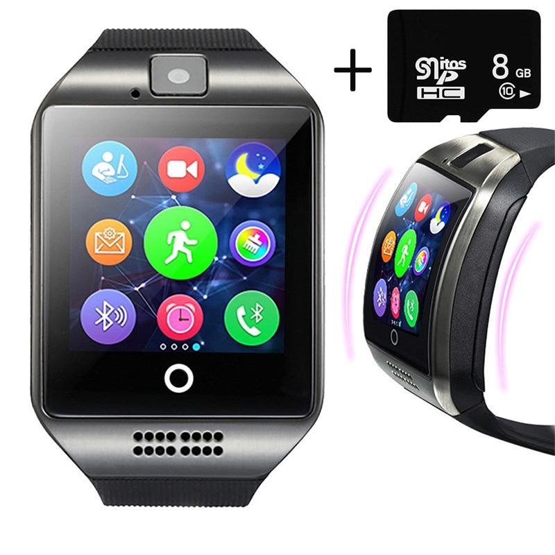 Relojes Para hombres Q18 Bluetoth Smart Watch GSM Cámara TF tarjeta teléfono reloj de pulsera para Android Ios teléfono relojes de pulsera electrónicos