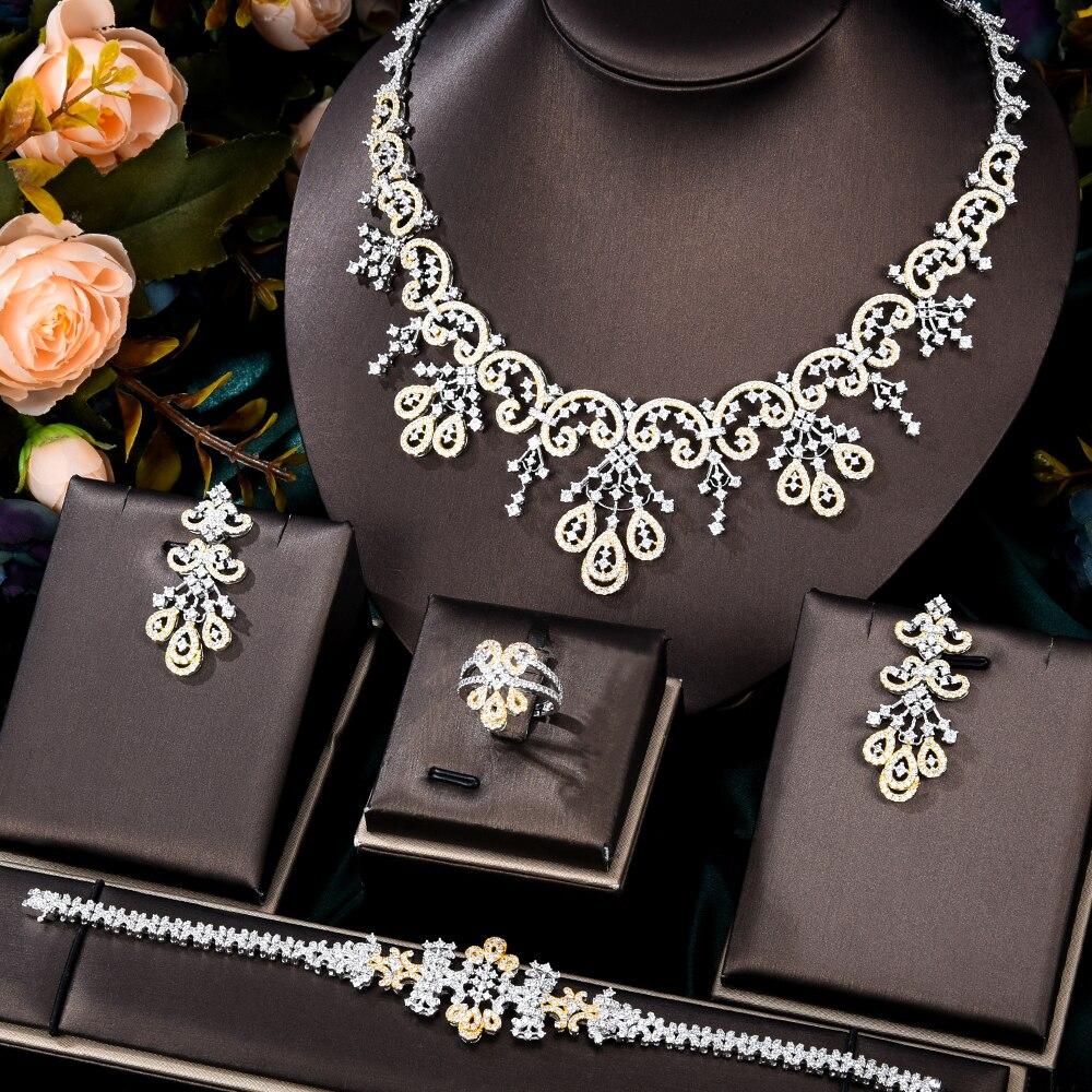 Kellyبولا أنيقة لامعة زهرة العصرية قلادة الإسورة أقراط الطوق الفاخرة النيجيري دبي مجوهرات لل زفاف مجوهرات الزفاف