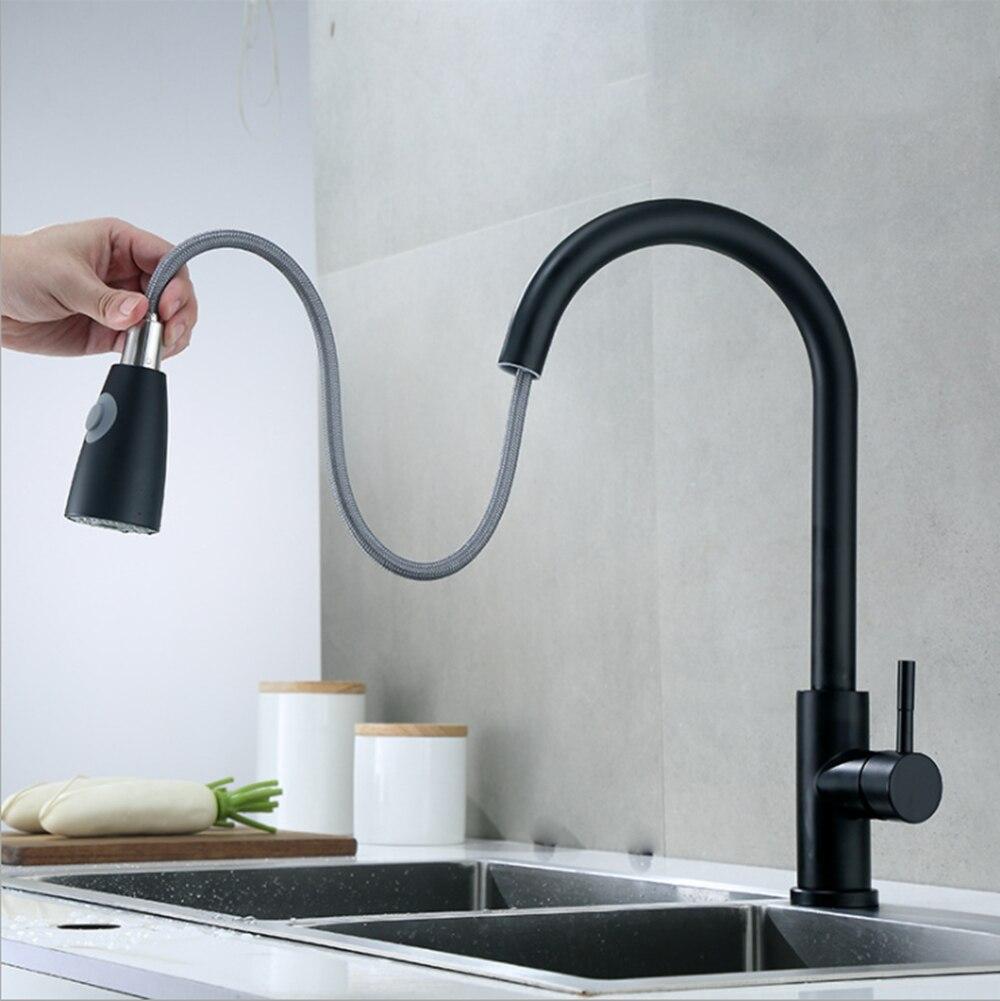 صنبور المطبخ اثنين وظيفة مقبض واحد سحب خلاط صنابير الماء الساخن والبارد الأسود