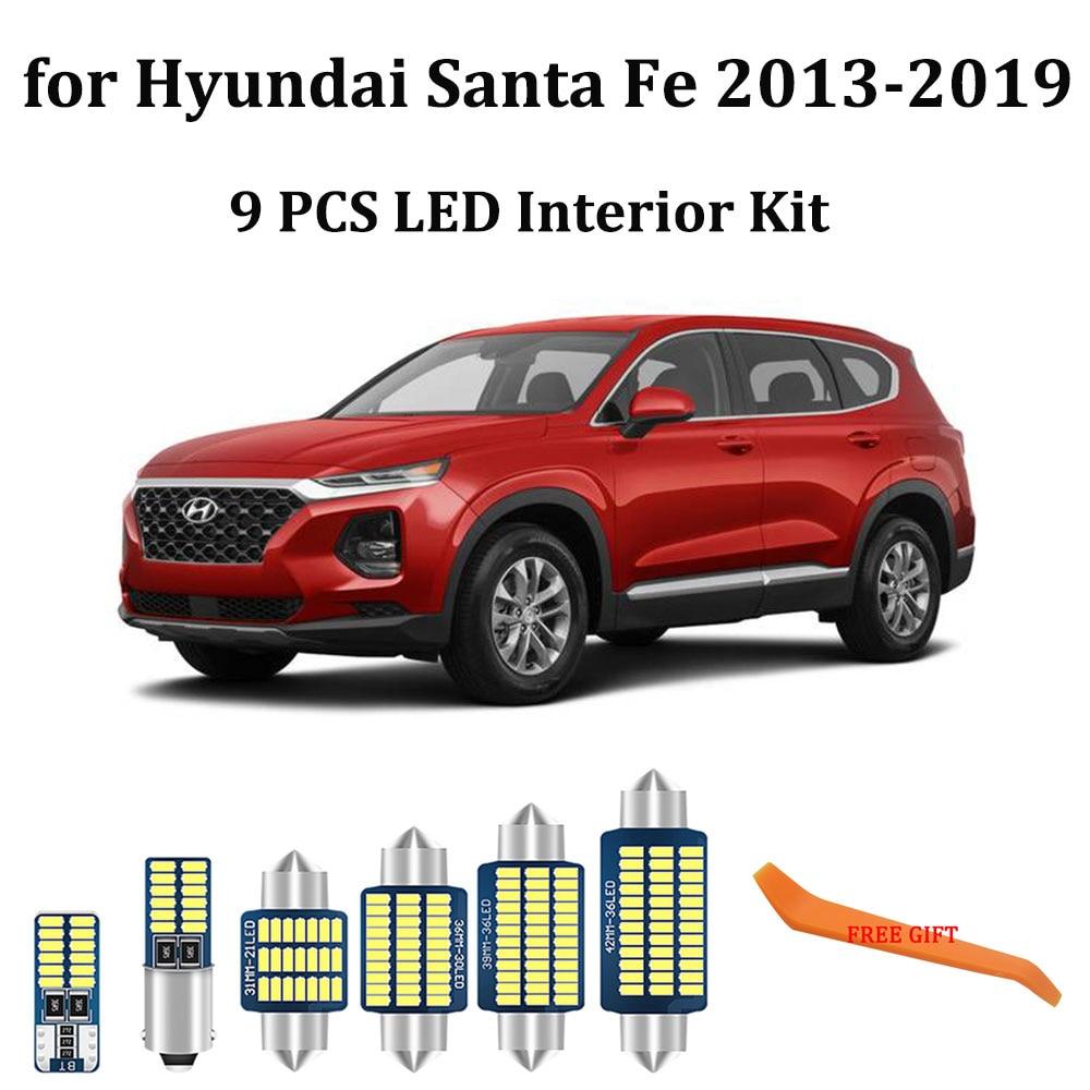 9Pcs White Canbus led Car interior lights Package Kit for Hyundai Santa Fe 2013 - 2016 2017 2018 2019 led interior Dome lights