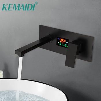 KEMAIDI Matte Black Bathroom Faucet Solid Brass Digital Display Temperature Faucet Water Wall Mounted Sink Basin Water Tap