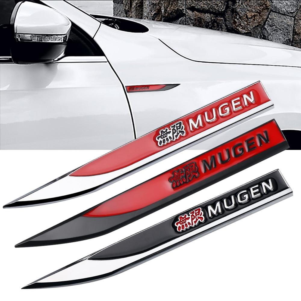 1 par de alta calidad 3D guardabarros de coche insignia lateral calcomanía maletero trasero pegatinas de Metal para Honda Mugen Power Civic City Jazz Accord Crv ajuste