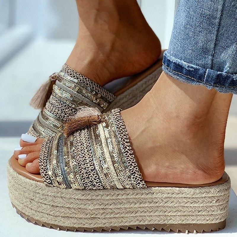 women summer beach sandals flats plus size shoes woman slides slippers low heel weave sandalias mujer sapato feminino N136