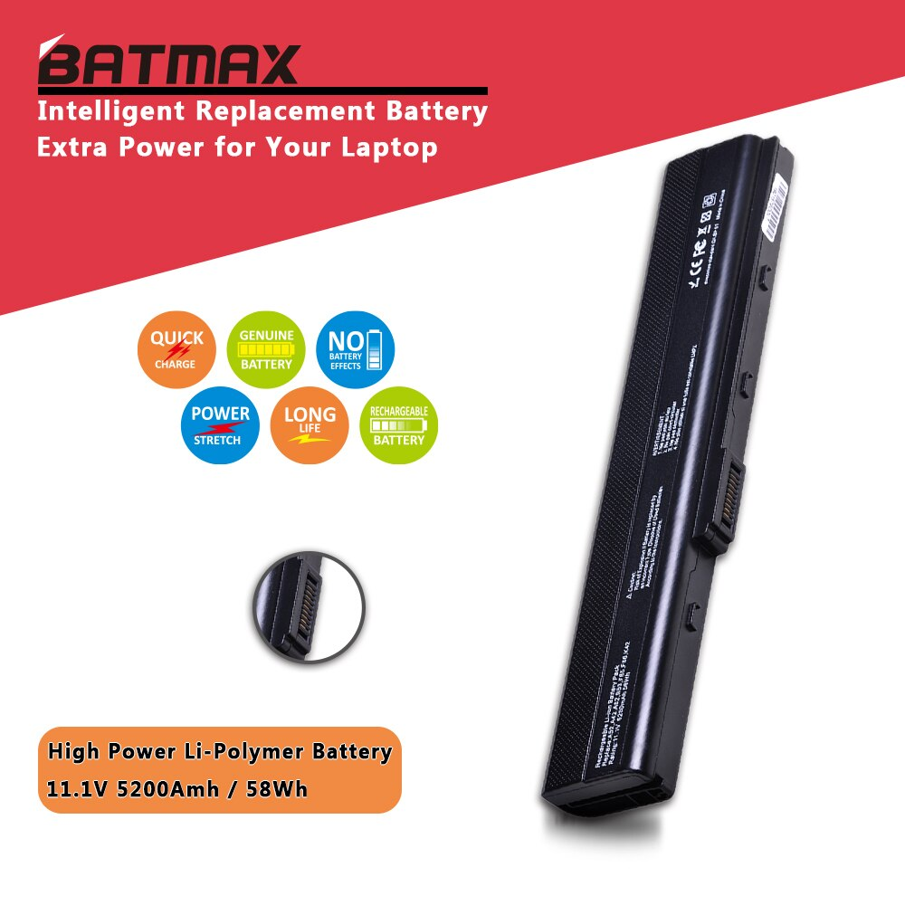 Batmax portátil batería de 14,8 V 2600mAH para Asus A31-K52 A41-K52 A32-K52 A42-K52 A52 A52F A52J K42 K42F K52F K52 K52J K52JC K52JE